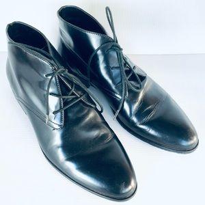 Le Saunda Black Men's Leather Lace Up Boots EUR 40